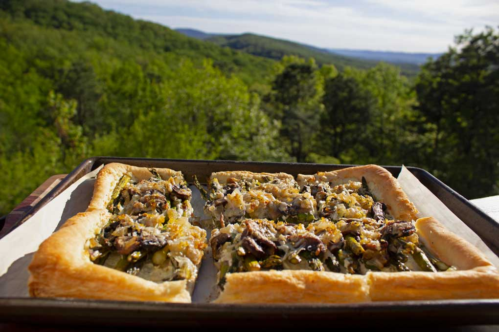 asparagus-ricotta tart with mountain view