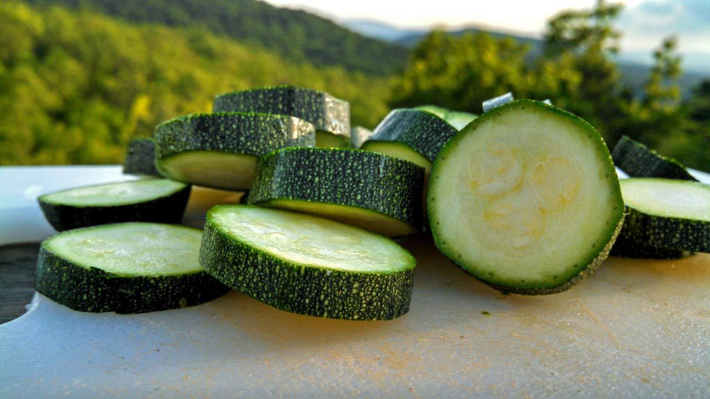 sliced zucchini with mountain view