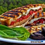 Grilled Mushroom Caprese Sandwiches are made with tomatoes, grilled mushrooms, fresh mozzarella cheese and basil filled inside rustic sourdough bread. Yum! | TheMountainKitchen.com