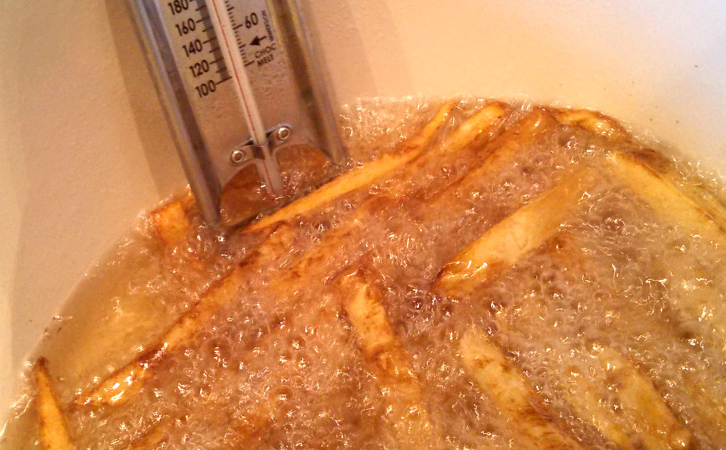 French Fries cooking in hot grease