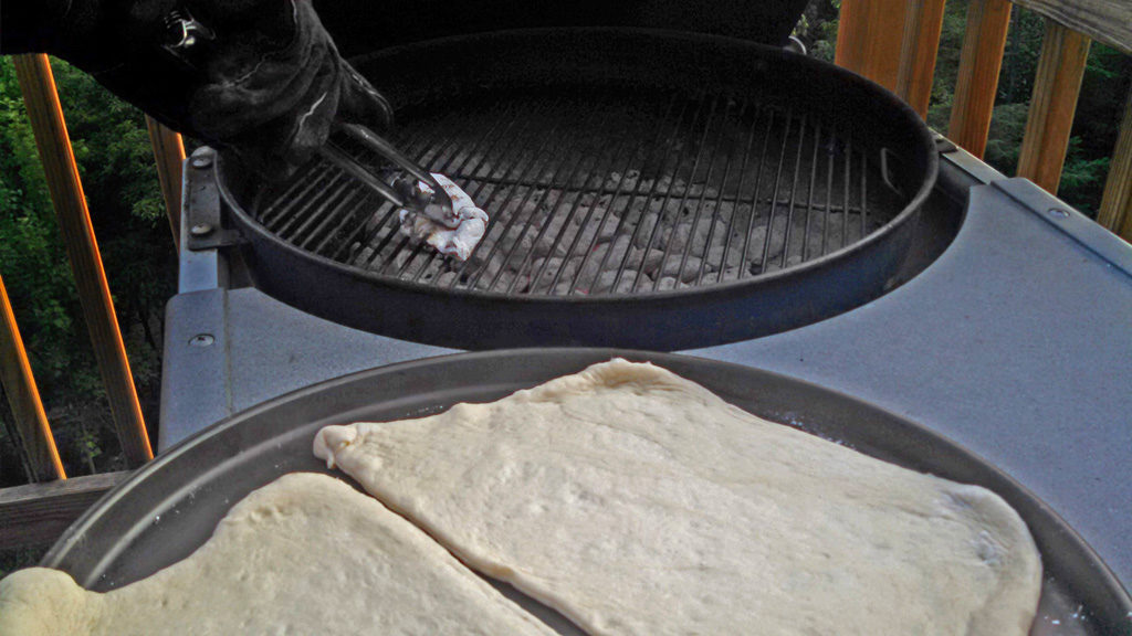 pizza dough ready to grill