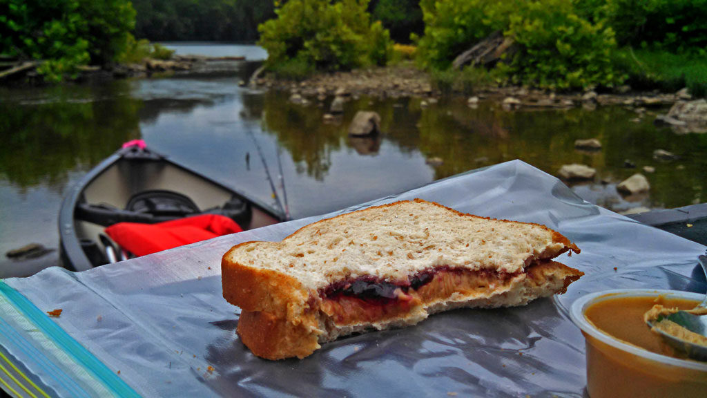 peanut butter and jelly sandwich with canoe