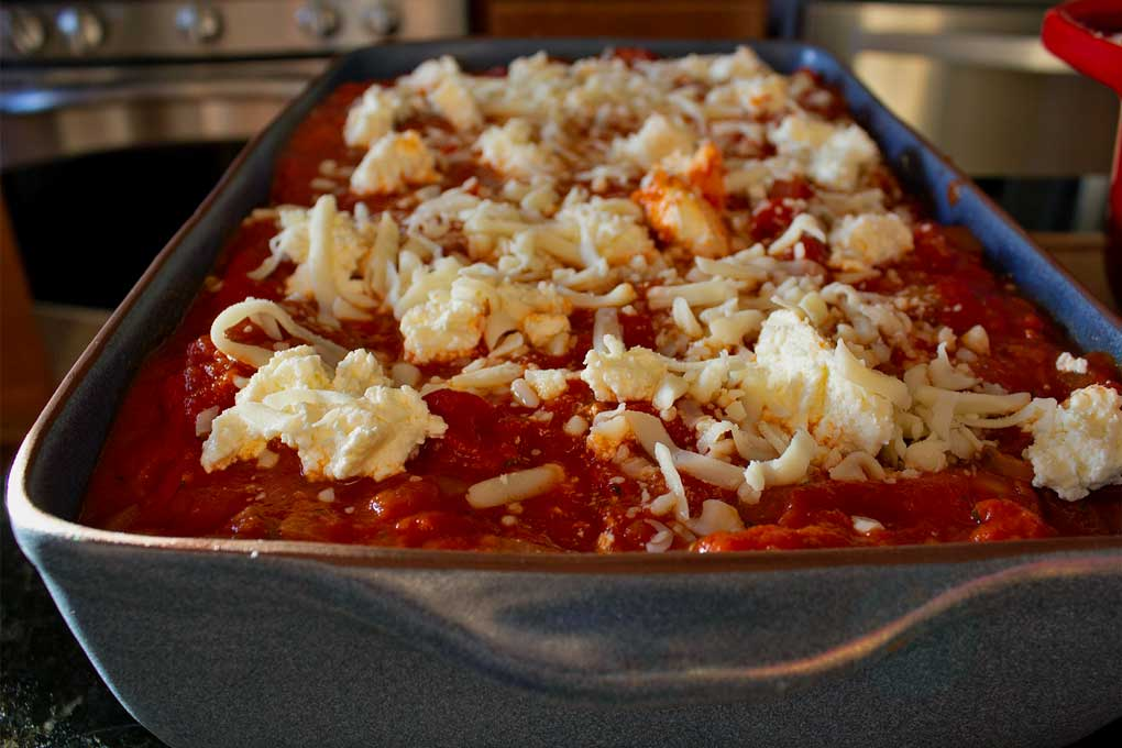No-Noodle Vegetable Lasagna ready for oven