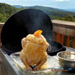 Beer Can Chicken is flavored with rosemary garlic orange butter sauce with garlic, slow cooked on the grill until tender, moist and falling-off-the-bone. | TheMountainKitchen.com
