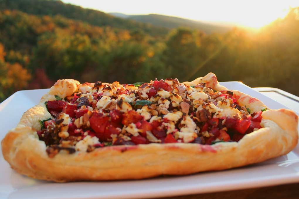 butternut squash and beet tart with mountain view