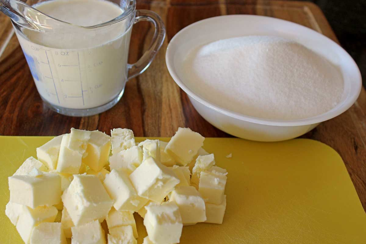 measured butter, heavy cream and sugar to make caramel sauce