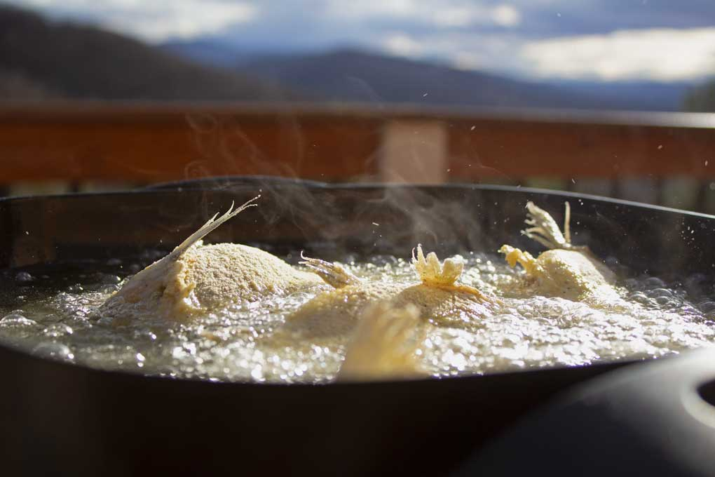 fish frying in pan with mountains in background