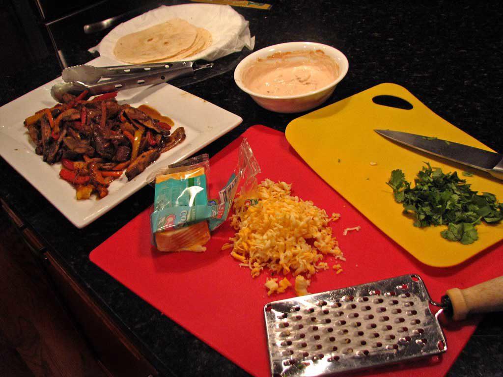 ingredients ready to make fajitas