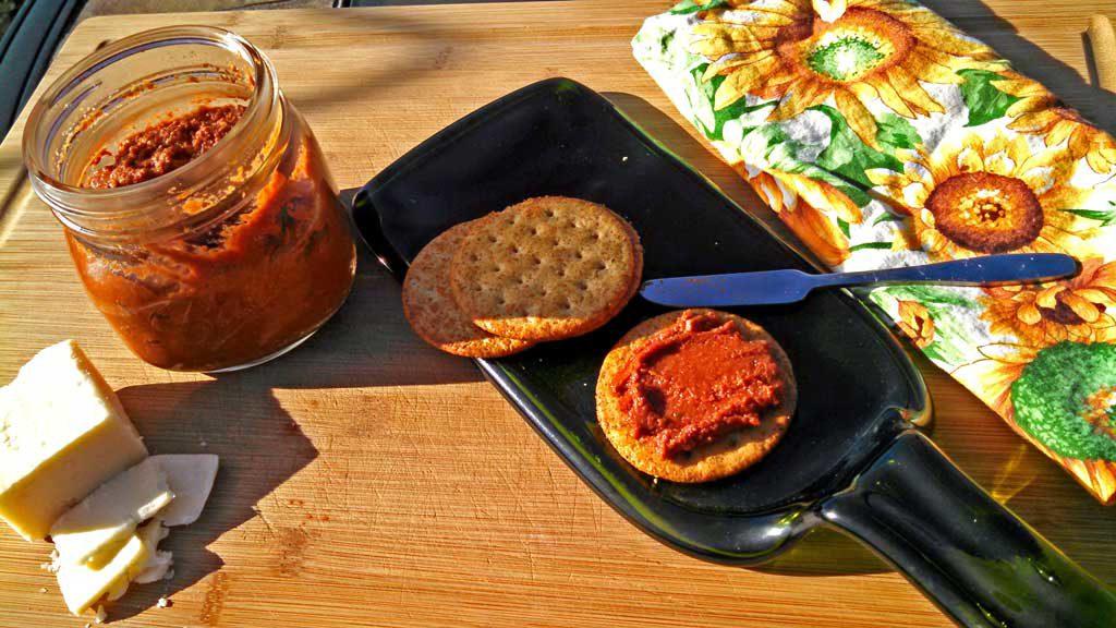 sun-dried tomato pesto spread on cracker