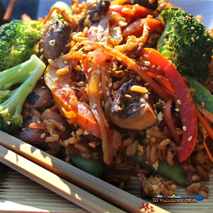 veggie stir fry on a plate