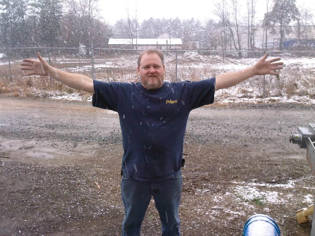 David in snow at Cardinal