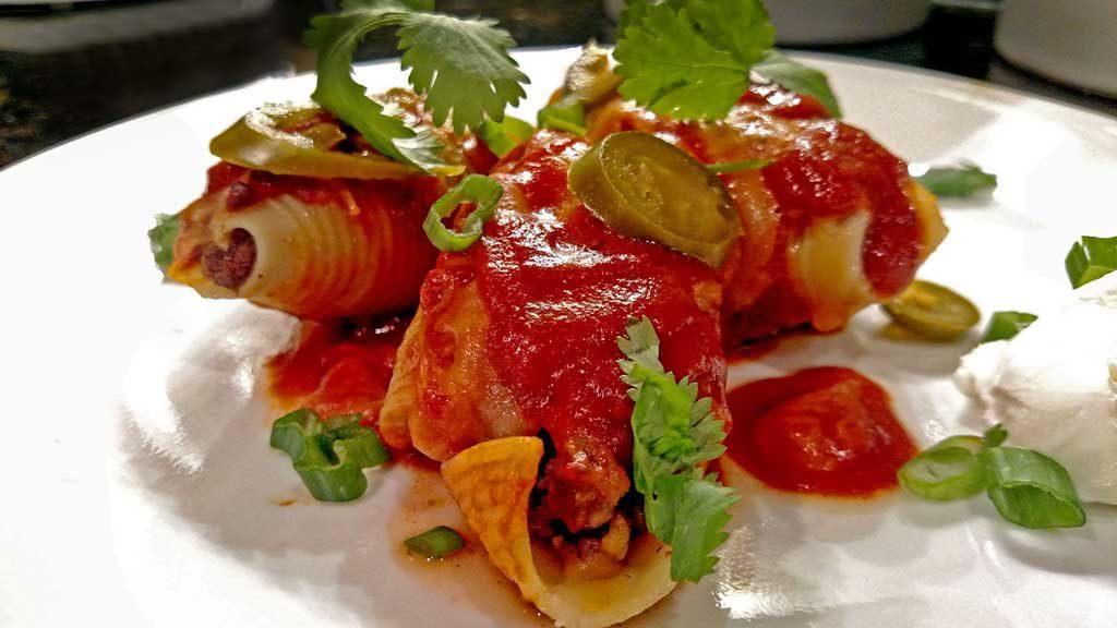 Pasta enchiladas ready to eat