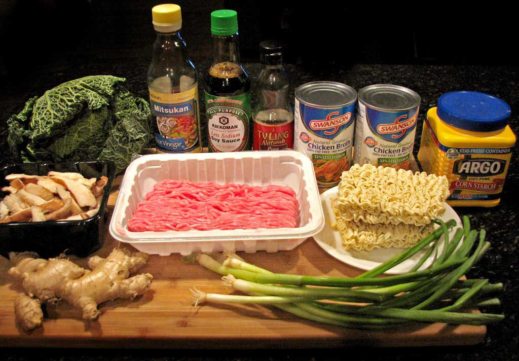 ingredients to make pork ramen noodle soup