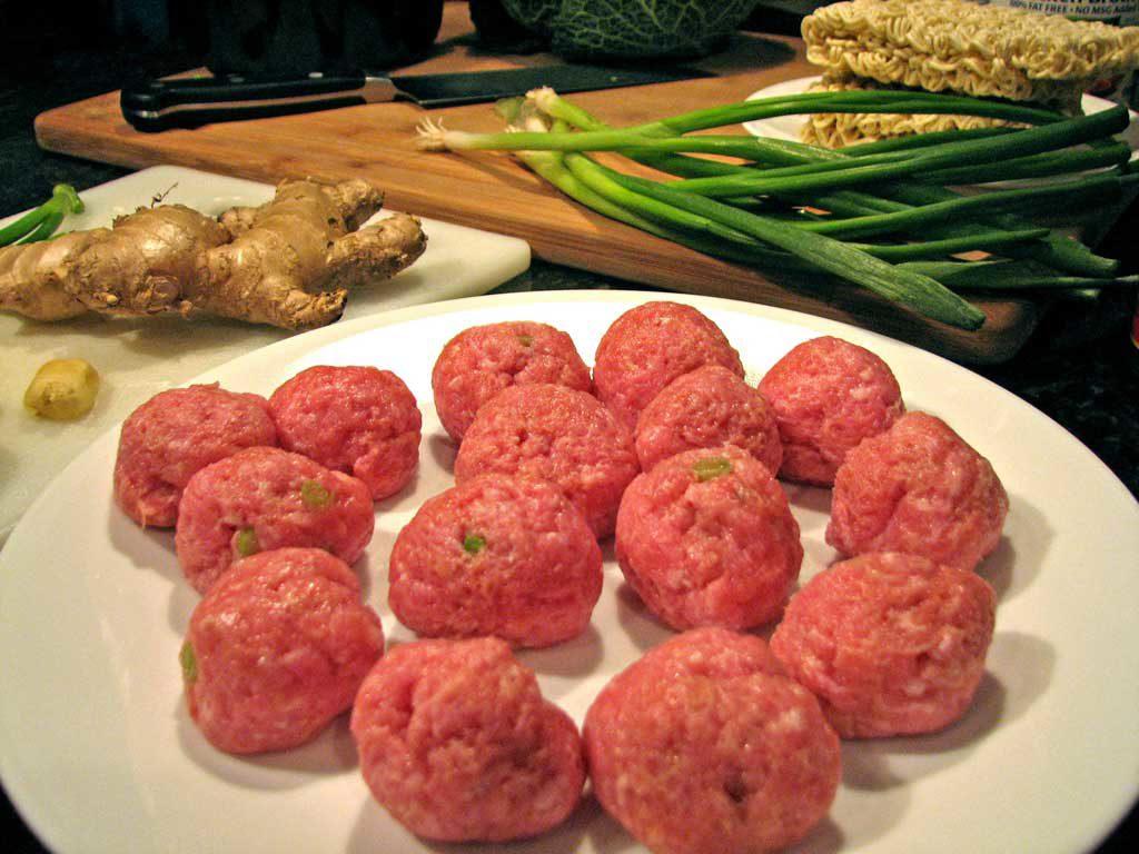 pork meatballs on plate