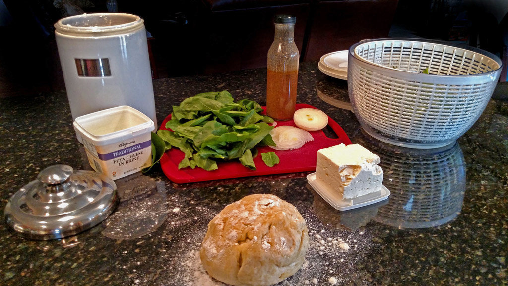 ingredients to make spinach feta pizza