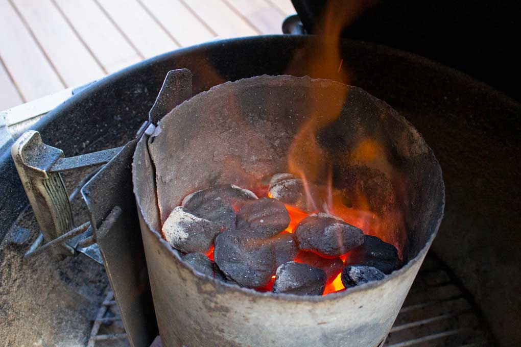 charcoal chimney with fire and hot coals