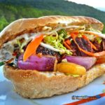These grilled teriyaki mushroom meatball sandwiches are made with half beef and half mushrooms, with teriyaki sauce, veggies and pineapple on a toasted bun. | TheMountainKitchen.com