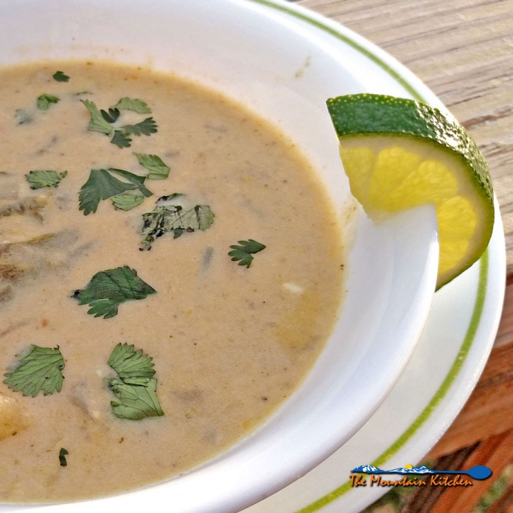 This creamy and mildly spiced roasted poblano corn chowder with poblano chili peppers comes alive when splashed with fresh lime juice just before eating. | TheMountainKitchen.com