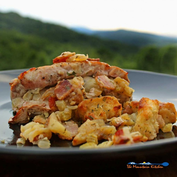 pork chops with apple bacon stuffing