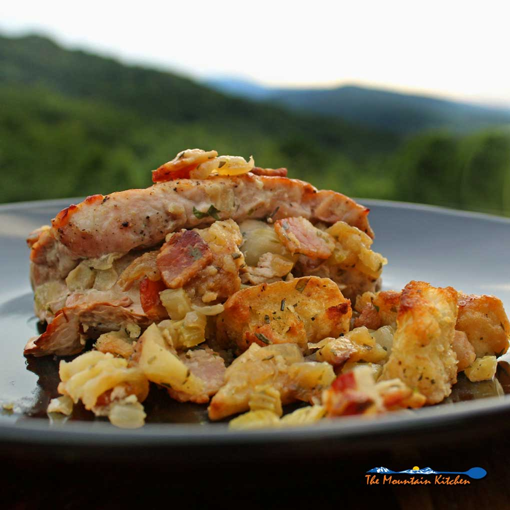 Pork Chops With Apple-Bacon Stuffing