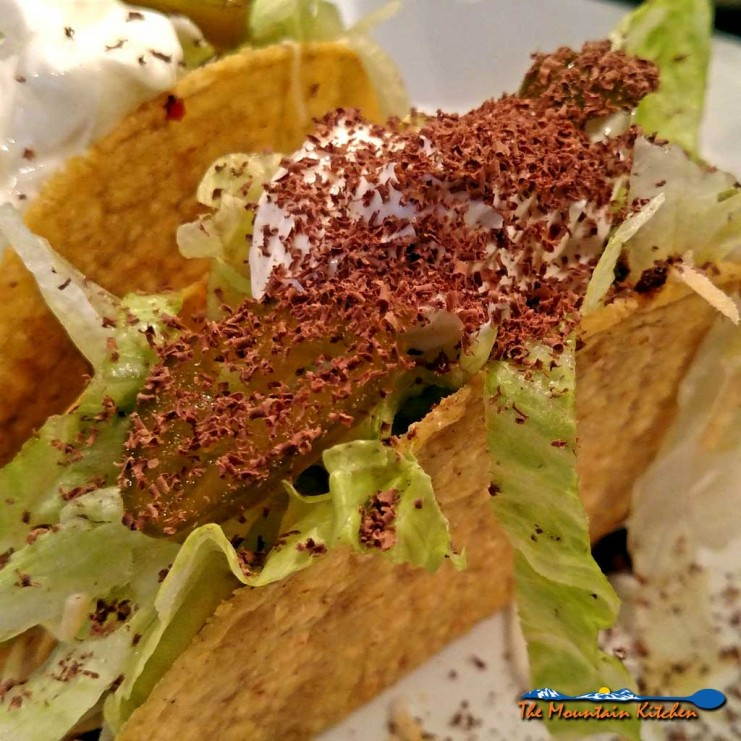I put chocolate on my taco! Chocolate gives your taco a warmth and richness like no other ingredient could. Next time you make tacos, try it! | TheMountainKitchen.com