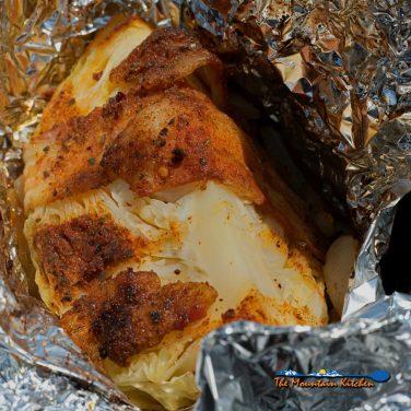 grilled cabbage inside foil