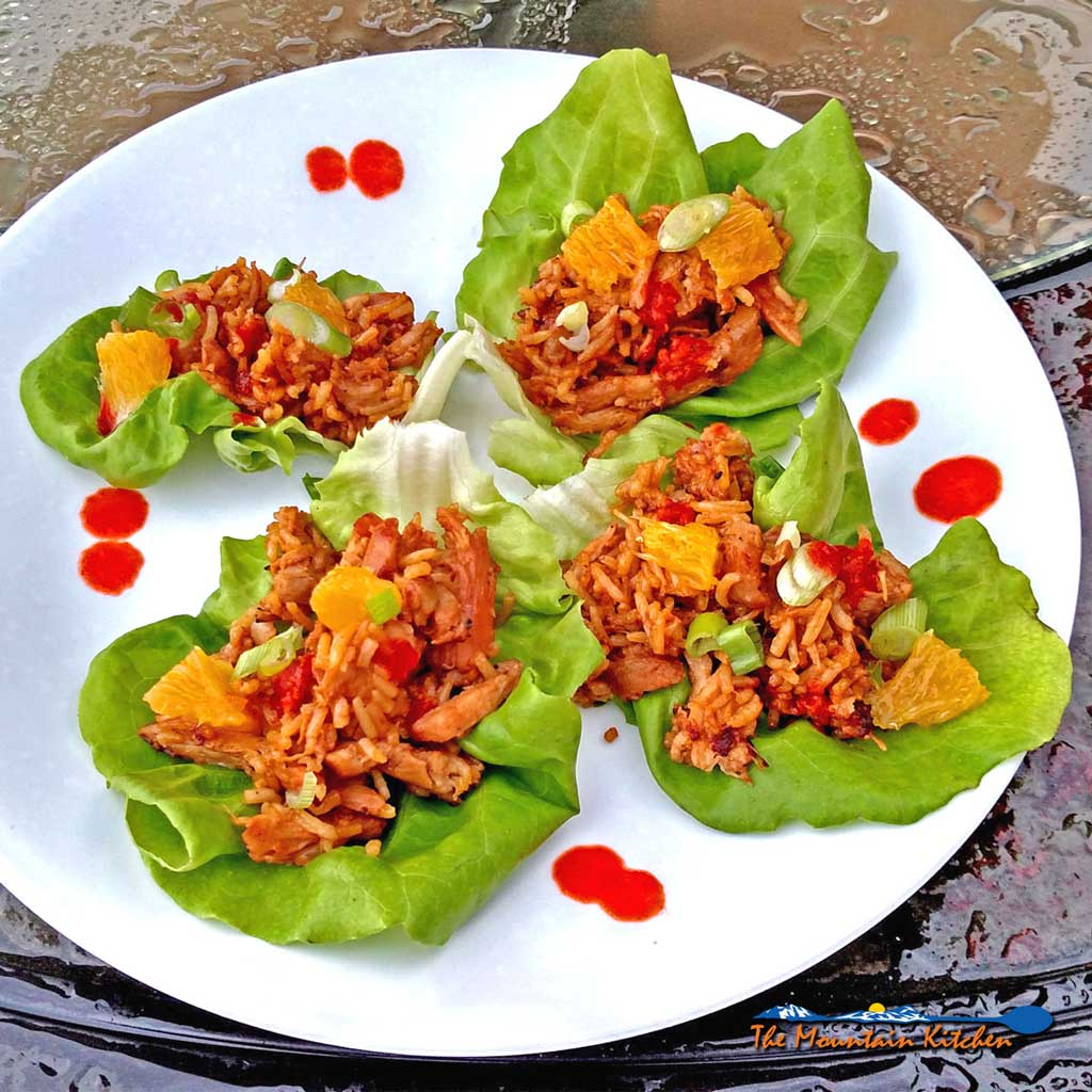 Orange Ginger Chicken Lettuce Wraps on a plate