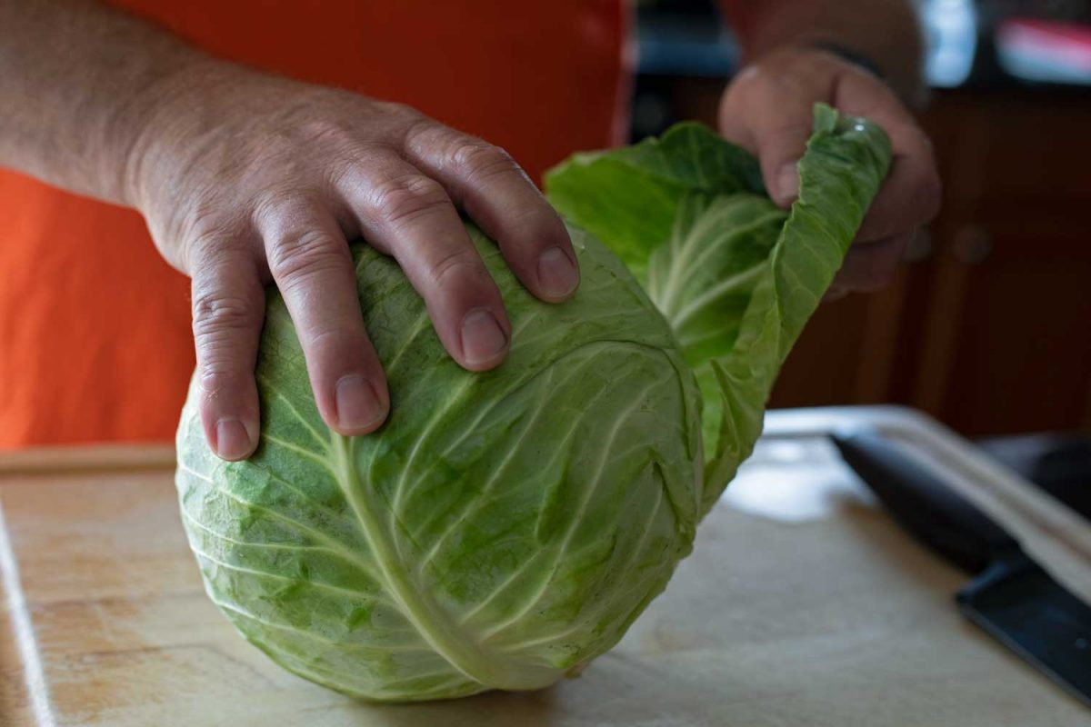 peeling outer leaves from cabbage
