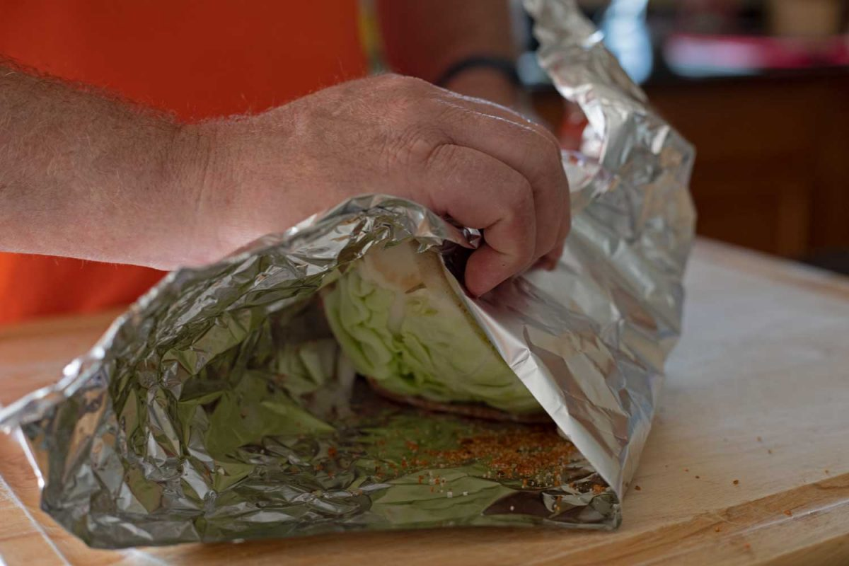wrapping cabbage wedge with foil