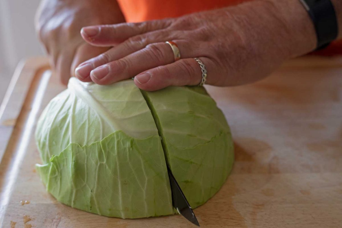 slicing cabbage down middle