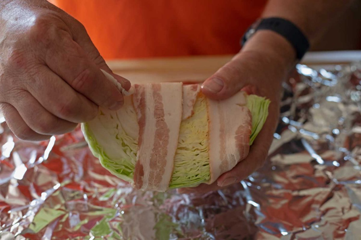 wrapping bacon around wedge