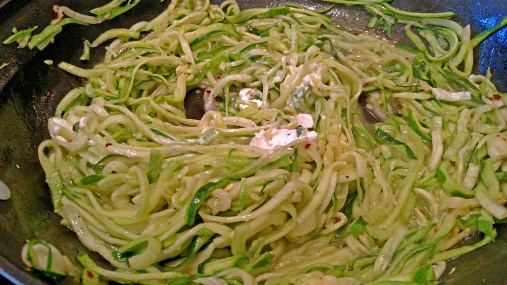 These garlic goat cheese zucchini noodles are a great low-carb option. Creamy, garlicky noodles with a hint of spice. A perfect side dish to any meal. | TheMountainKitchen.com