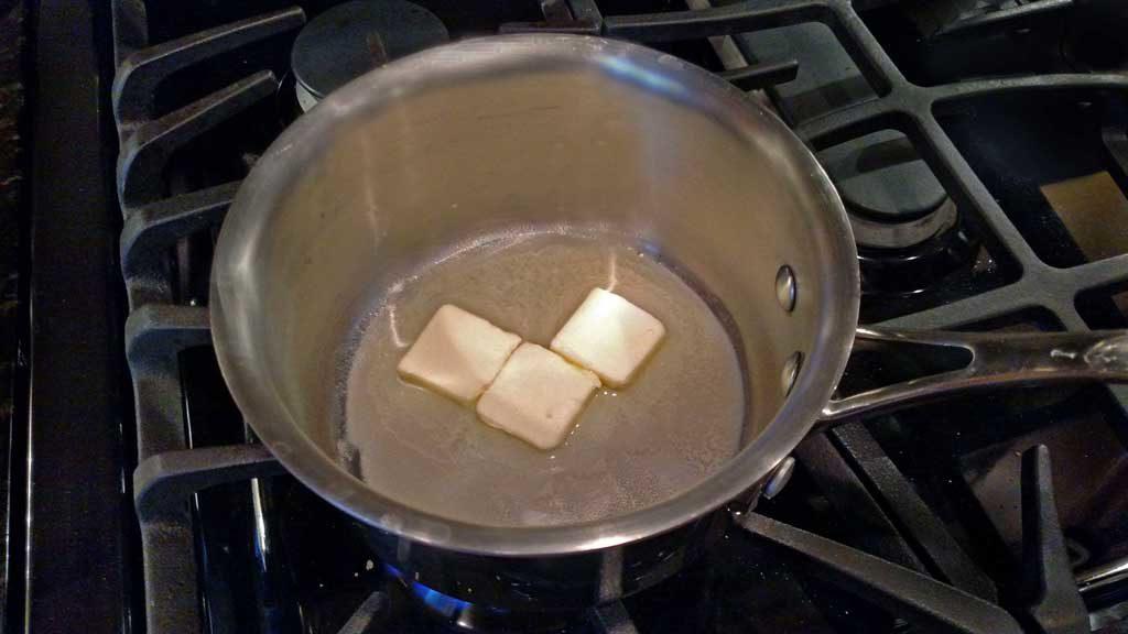 melting butter in pot