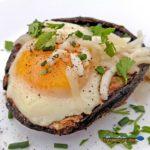 mushroom caps with baked eggs
