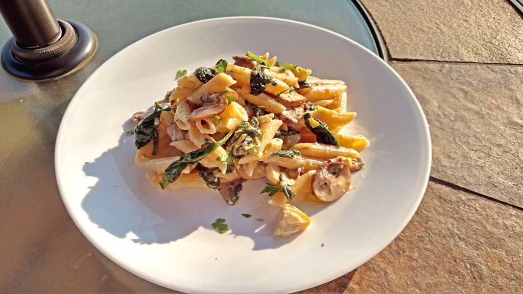 Mushroom Spinach Artichoke Alfredo Pasta ready to eat