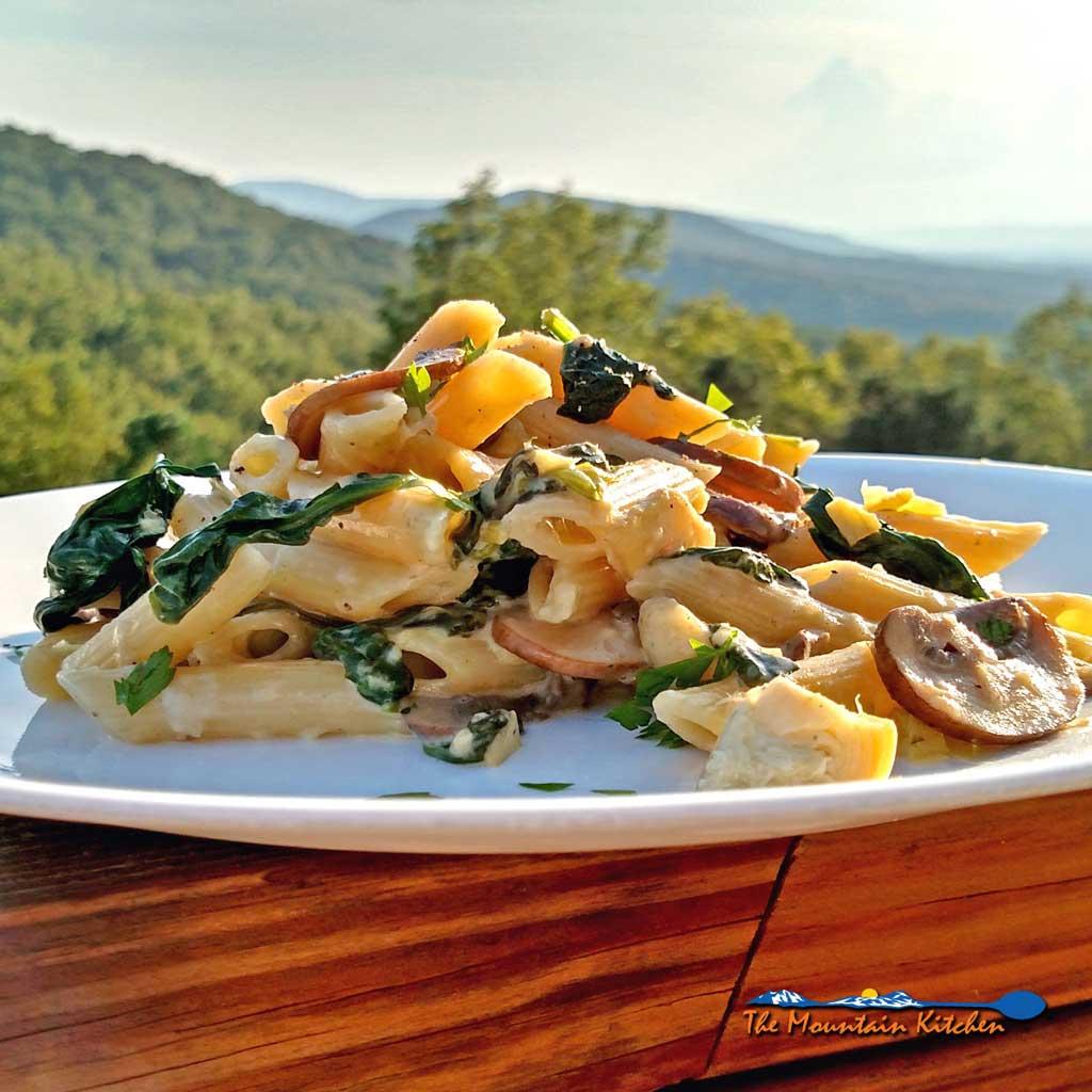 Mushroom Spinach Artichoke Alfredo Pasta