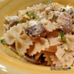 This delicious Mushroom Goat Cheese Farfalle pasta dish is loaded with mushrooms, garlic and shallots in creamy goat cheese sauce, with lemon and basil.   TheMountainKitchen.com