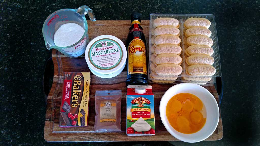 ingredients to make homemade tiramisu