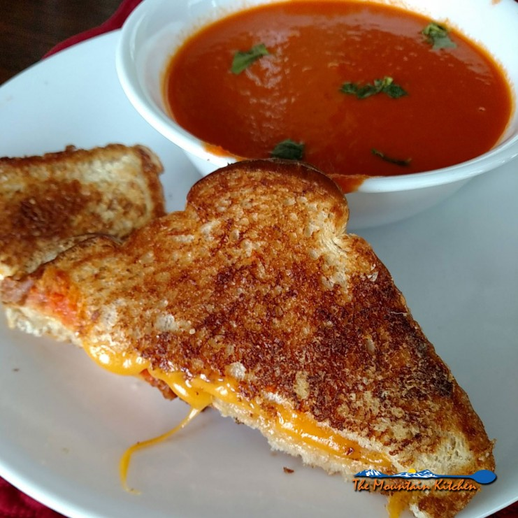 Pioneer tomato soup with grilled cheese sandwich