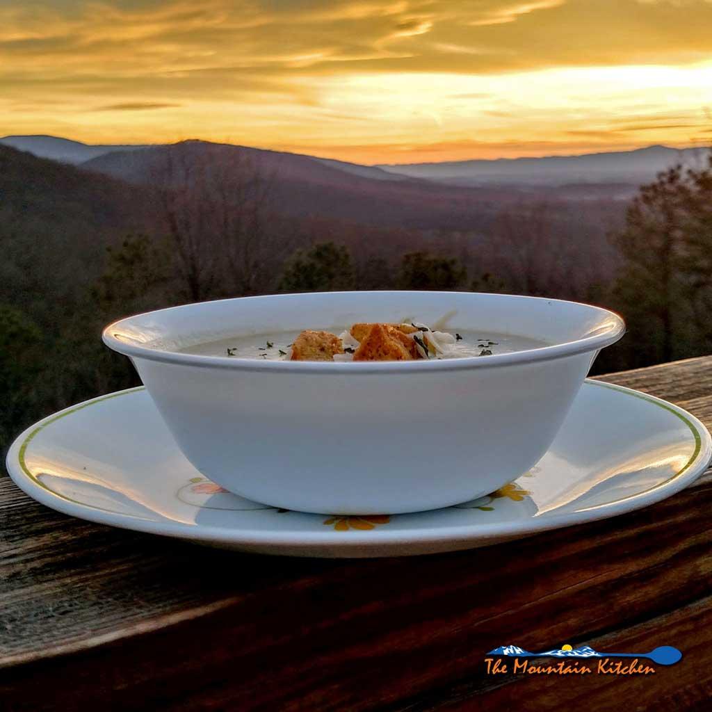 Crock-pot Potato Leek Soup with mountain view