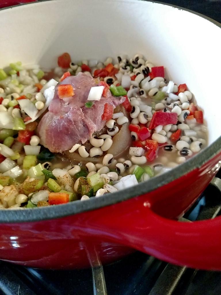 ingredients inside Dutch oven