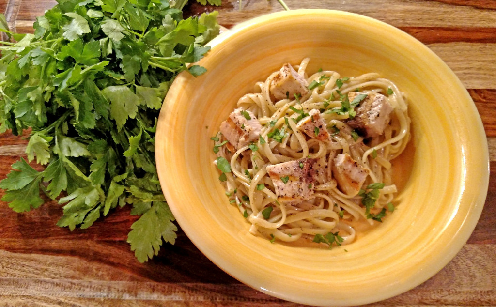 Linguine With Grilled Swordfish and Parsley Anchovy Sauce   Linguine and grilled swordfish tossed with a rich, and flavorful parsley anchovy sauce with parmesan cheese and hints of lemon. This delicious pasta is easy to make and is impressive without a lot of effort.   TheMountainKitchen.com