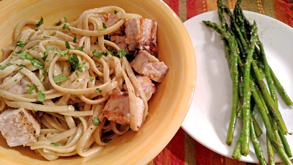Linguine with Grilled Swordfish and Anchovy Sauce   TheMountainKitchen.com
