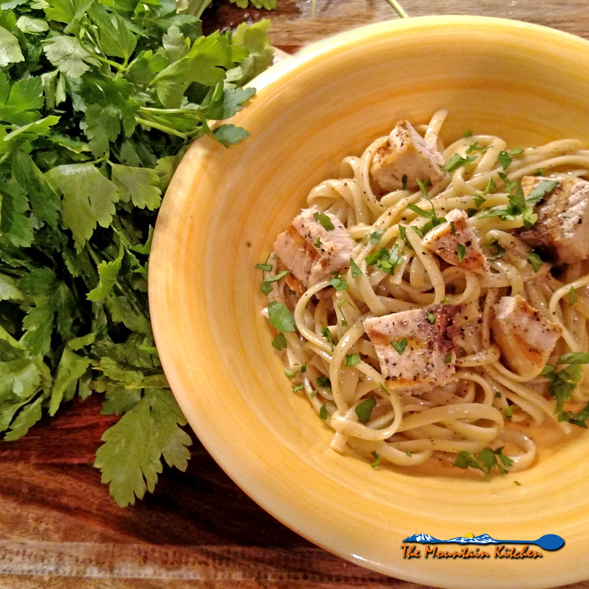 Linguine With Grilled Swordfish and Parsley Anchovy Sauce in bowl