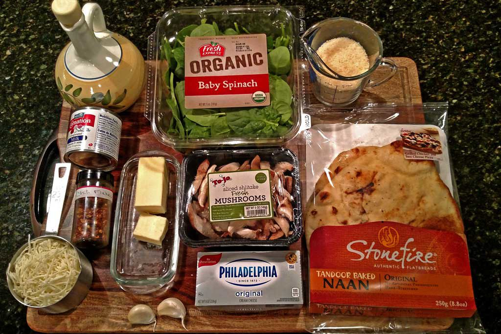 ingredients to make mushroom spinach Alfredo flatbread pizza
