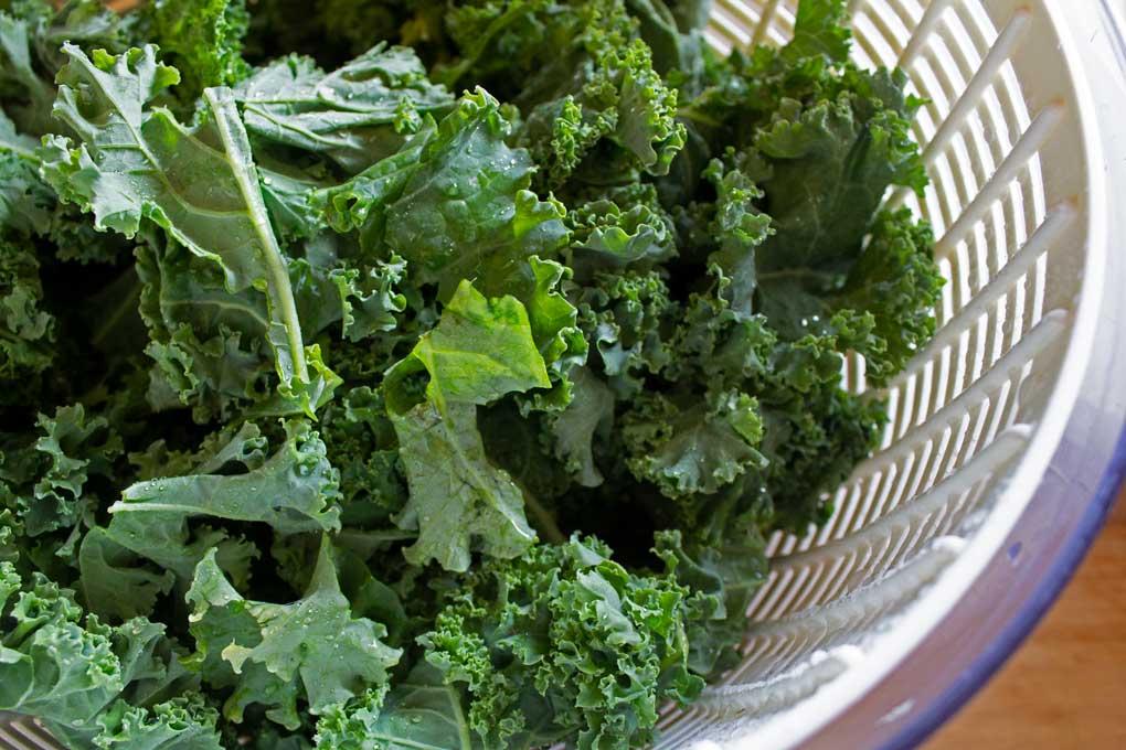 kale in salad spinner