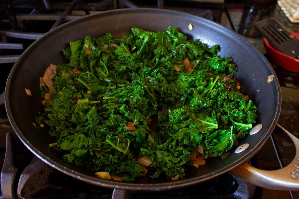 kale mixture in pan