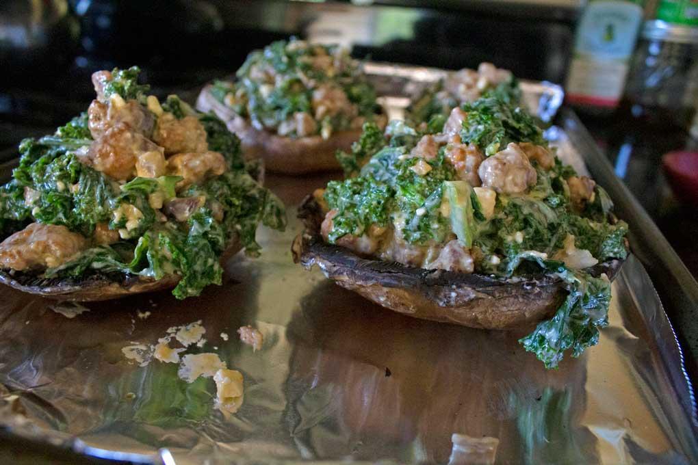 stuffed mushrooms on pan