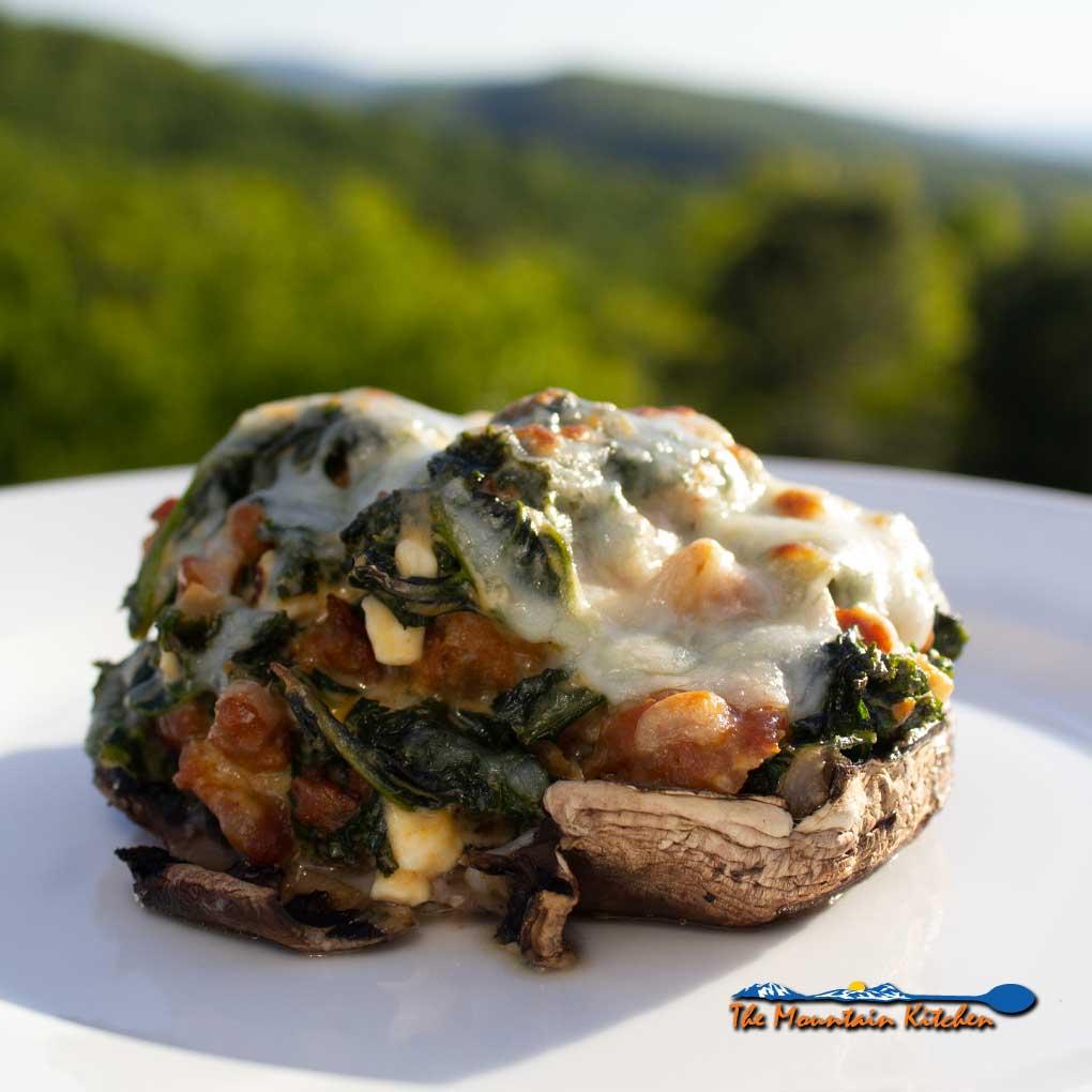 sausage kale stuffed mushrooms with mountain view