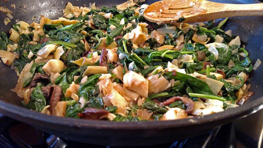 cooking vegetables in pan